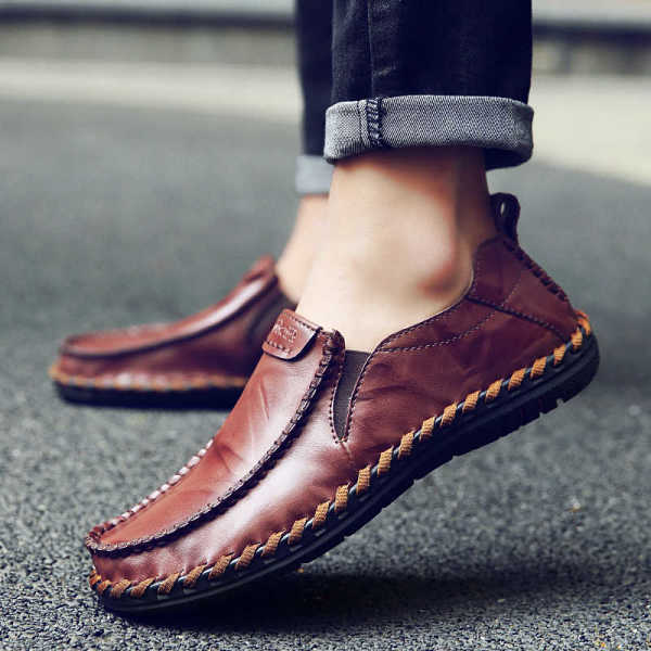 men loafers flat breathable moccasins style