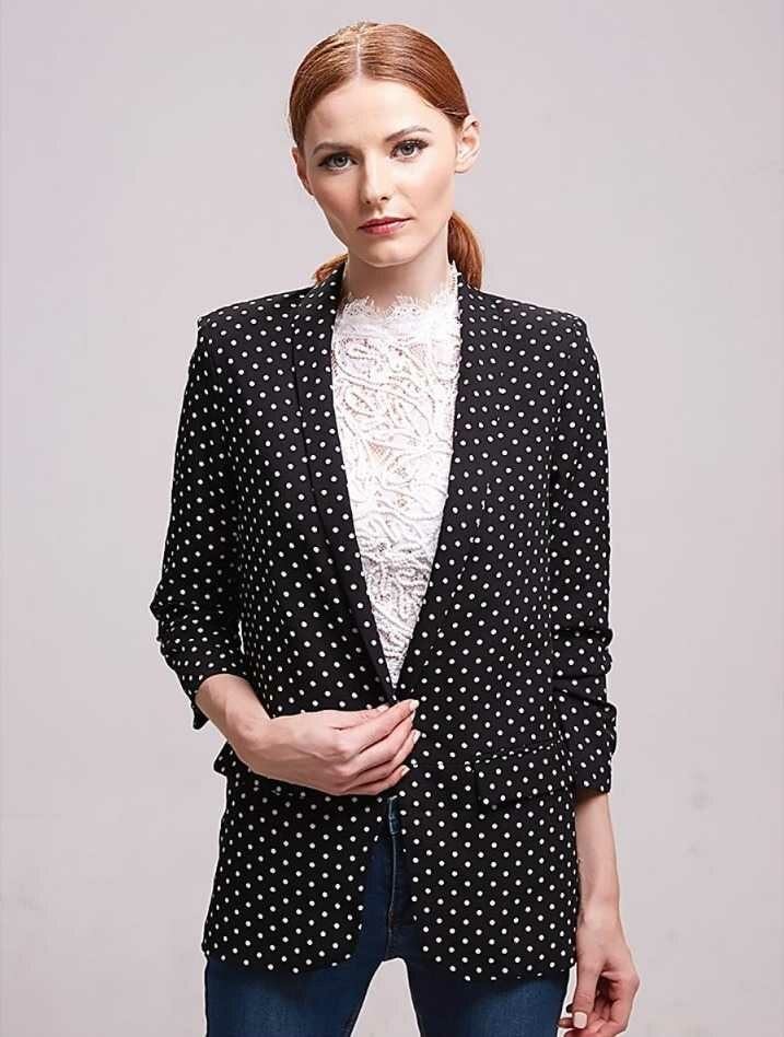 casual blazer with ruffle sleeves for women