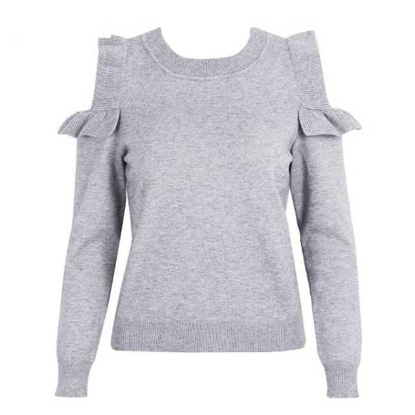 gray elegant cold shoulder knitted sweater for women