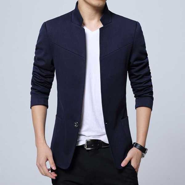 fashion blazer for men with stand collar