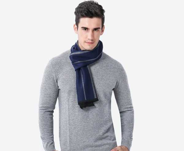 blue long cashmere scarf with geometric pattern for men