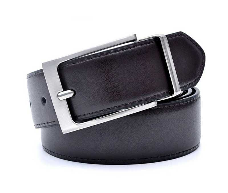 black mens leather belt with reversible buckle
