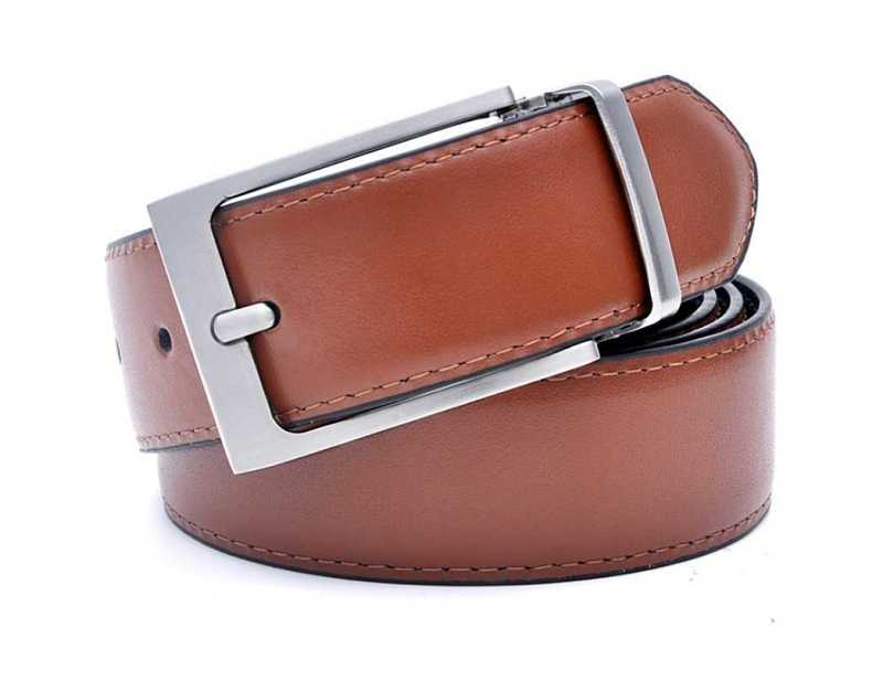 mens leather belt with reversible buckle