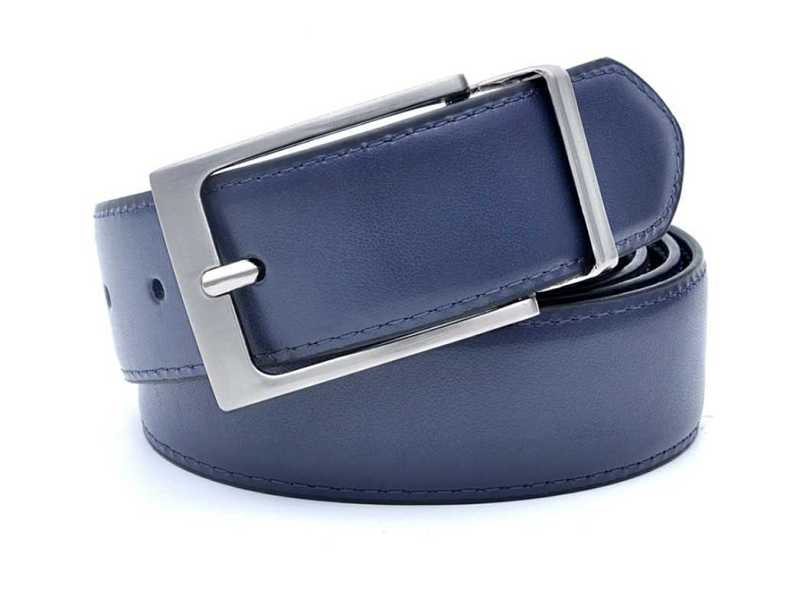 blue mens leather belt with reversible buckle