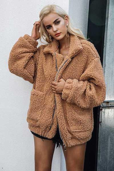 oversized jacket in faux lambswool for women