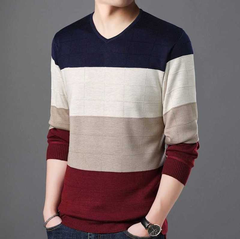 patchwork thick fleece sweater with v neck for men