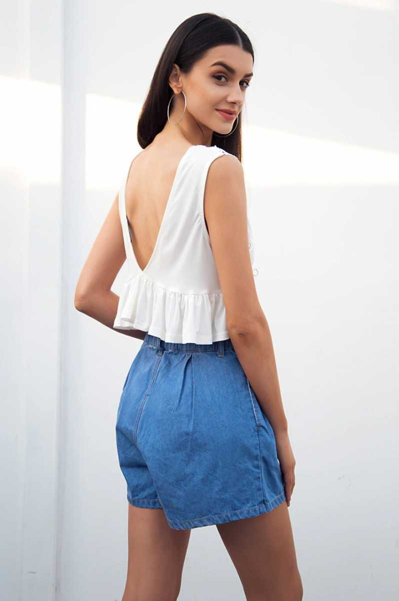 women hight waist shorts in casual ruffle blue denim