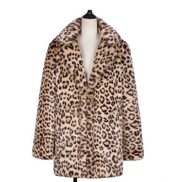 womens coat in artificial wool leopard fashion