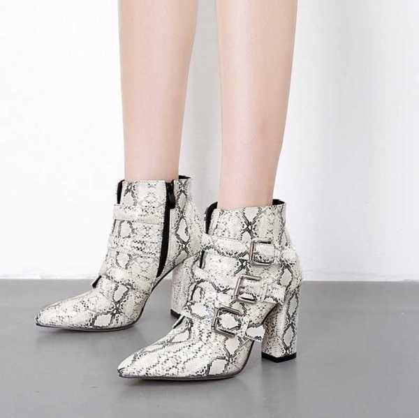 ankle boots with animal print for women