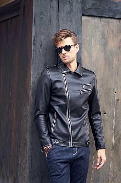 8e9924670172c black biker jacket in pleather for men 17