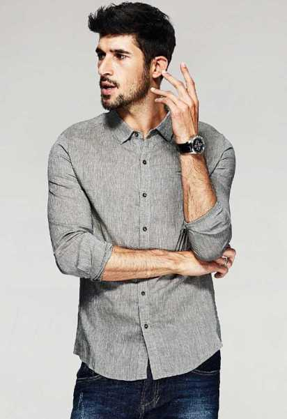 casual shirt with long sleeves for men