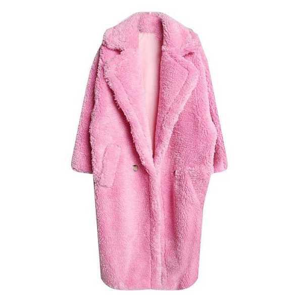 oversized coat in soft faux fur for women