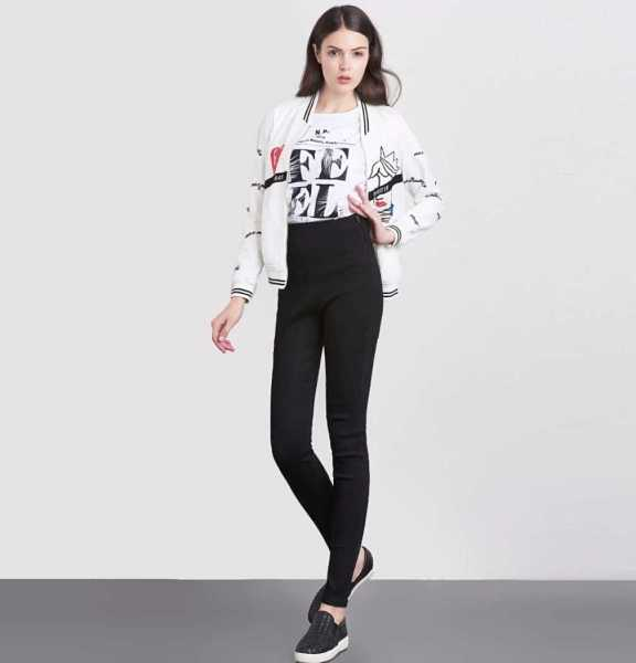 black skinny pencil jeans in high waist for women