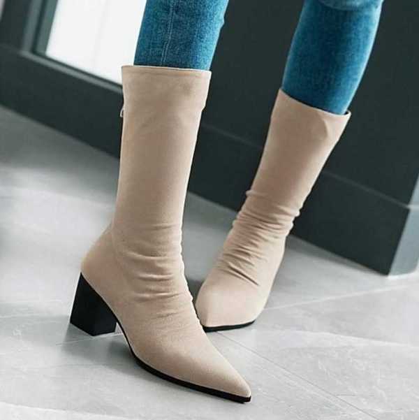 short boots with thick heel for women 2
