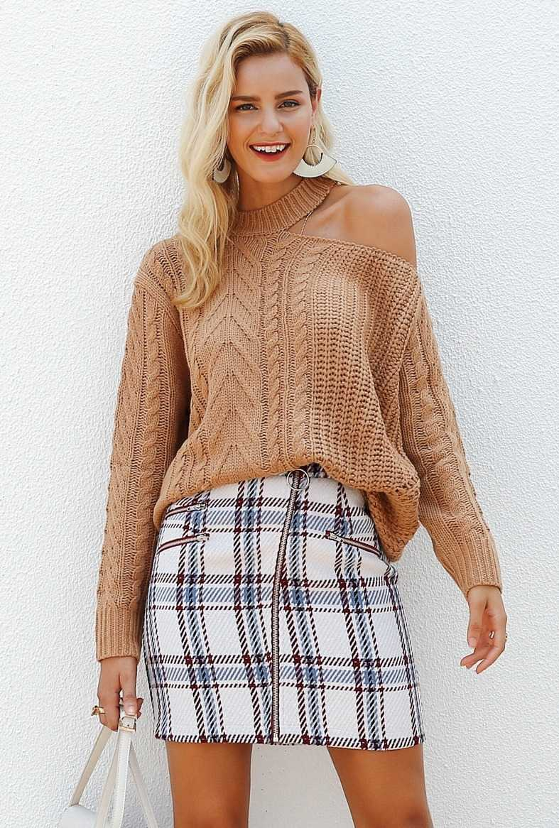 tweed skirt with checks for women 16