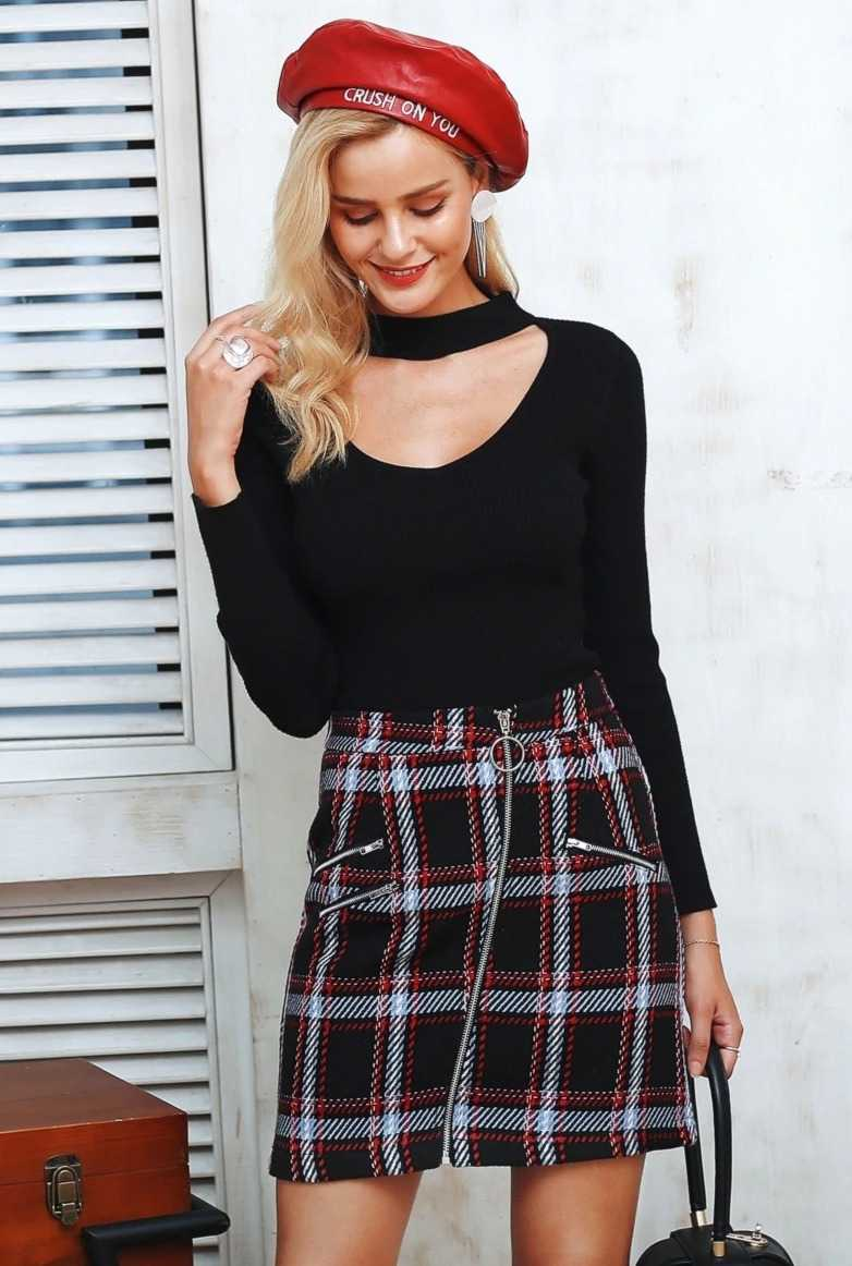 tweed skirt with checks for women 19