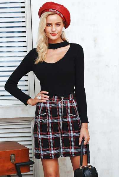 829cdf8a1ce2e tweed skirt with checks for women 15