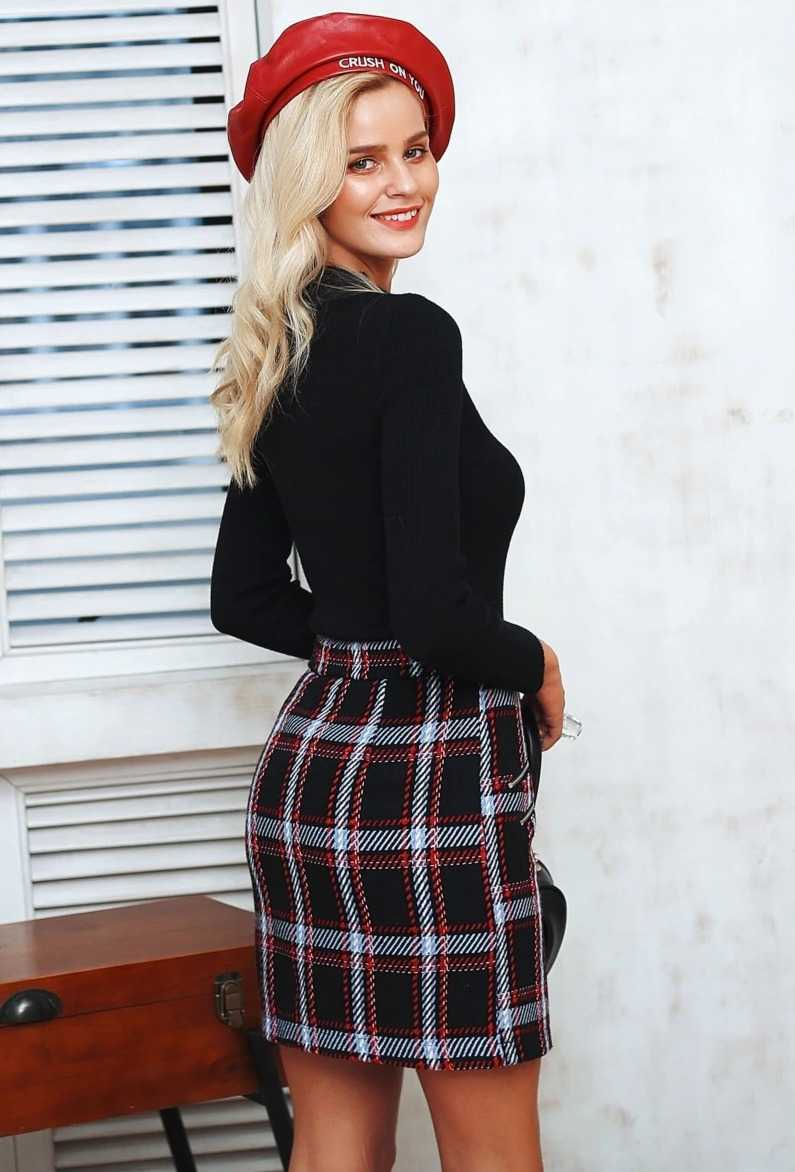 tweed skirt with checks for women 18