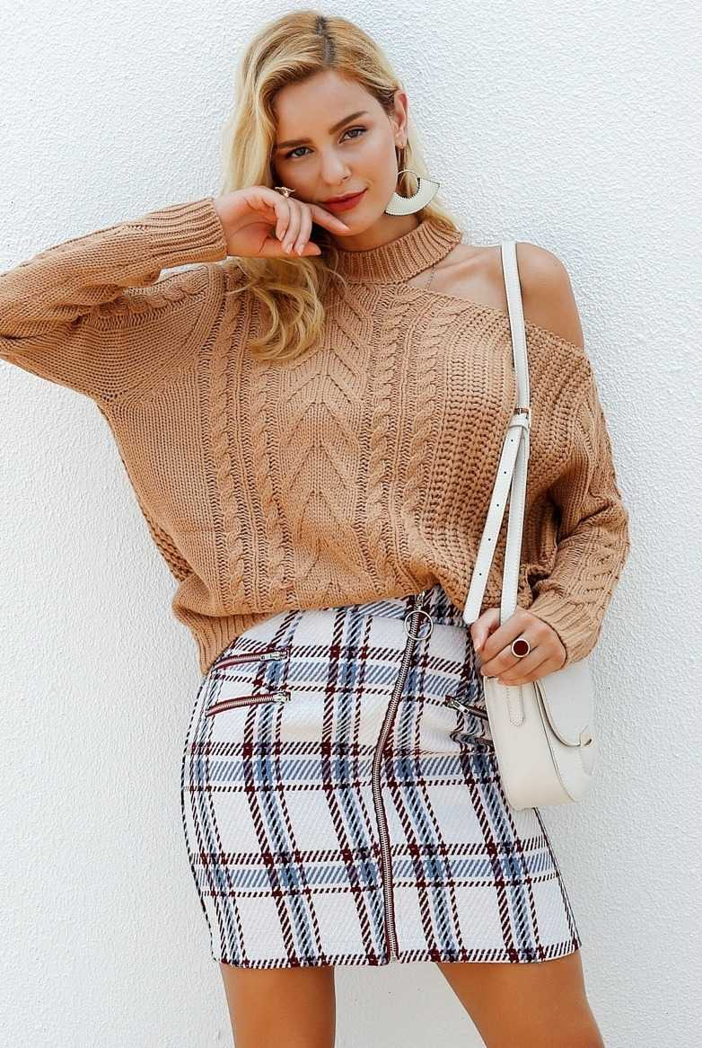 tweed skirt with checks for women 17