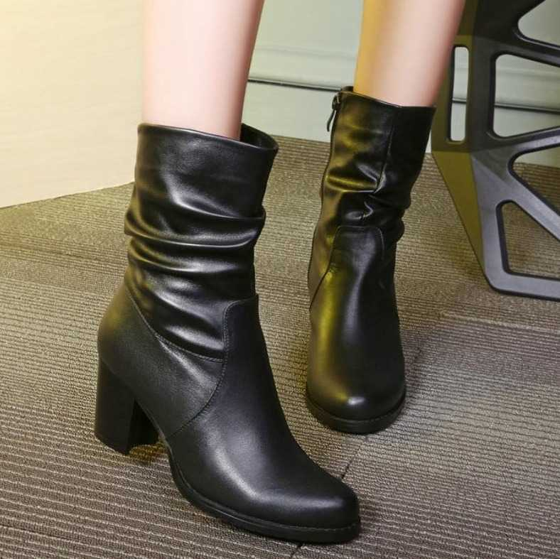 mid calf leather boots for women 12