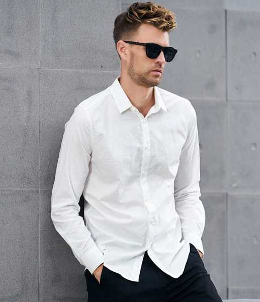 slim fit men shirt with long sleeves 2