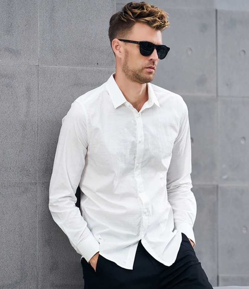 slim fit men shirt with long sleeves