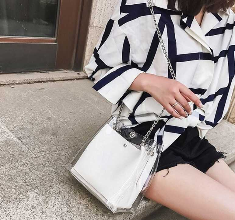 transparent shoulder bag with chains for women 15