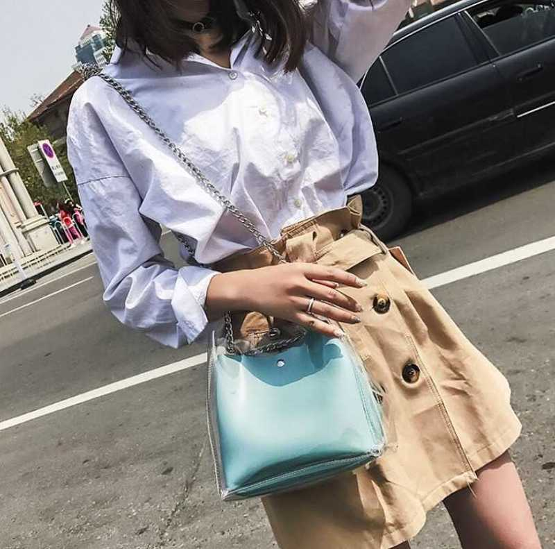 transparent shoulder bag with chains for women 13
