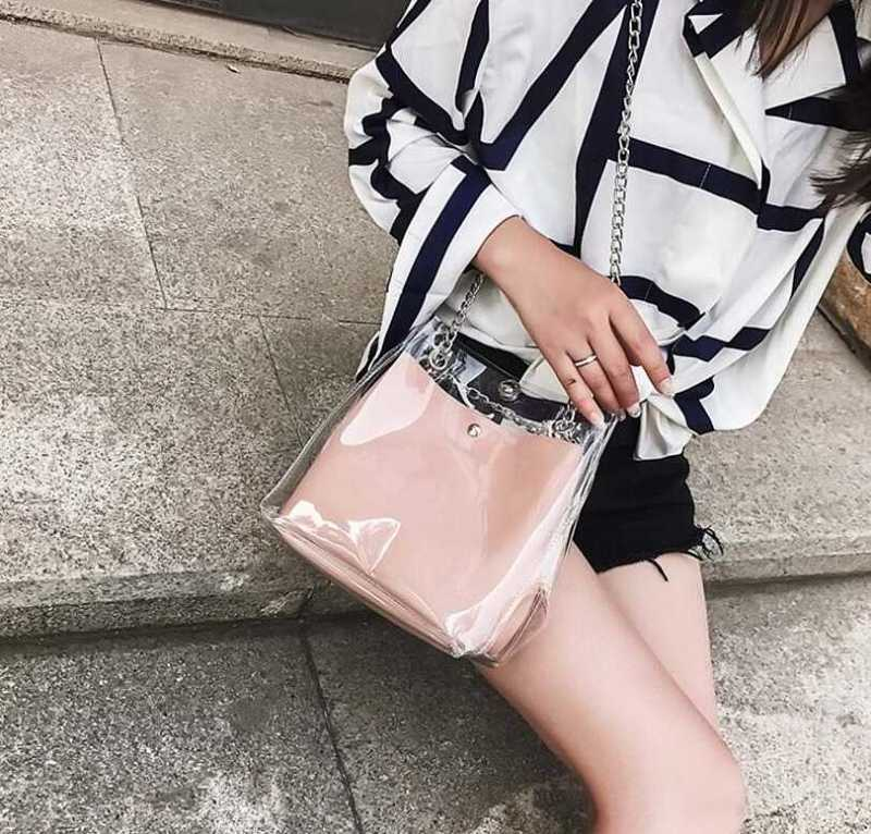 transparent shoulder bag with chains for women 17