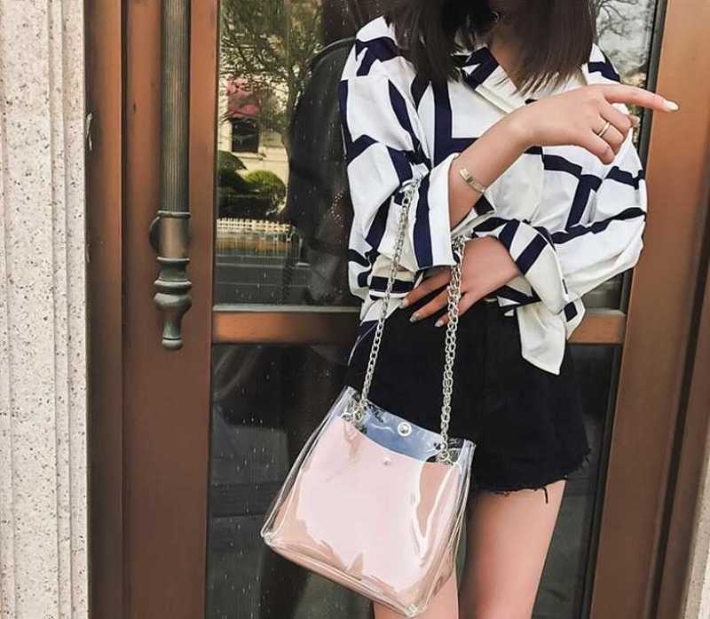 transparent shoulder bag with chains for women 16