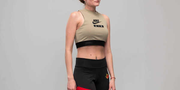 Nike Sportswear Air Crop Top Olive GOOFASH 25727_M