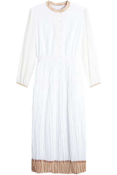 Agnona Pleated Cotton Dress GOOFASH 262533
