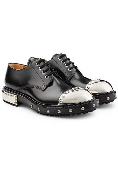 Alexander McQueen Embellished Leather Shoes with Toecap GOOFASH 270188