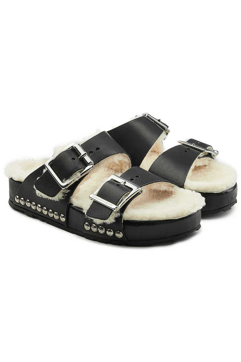 Alexander McQueen Leather Sandals with Shearling Insole GOOFASH 285231