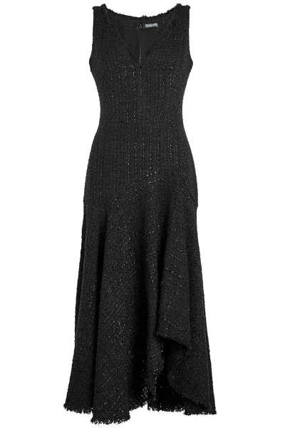 Alexander McQueen Tweed Asymmetric Dress with Wool and Cotton GOOFASH 272229