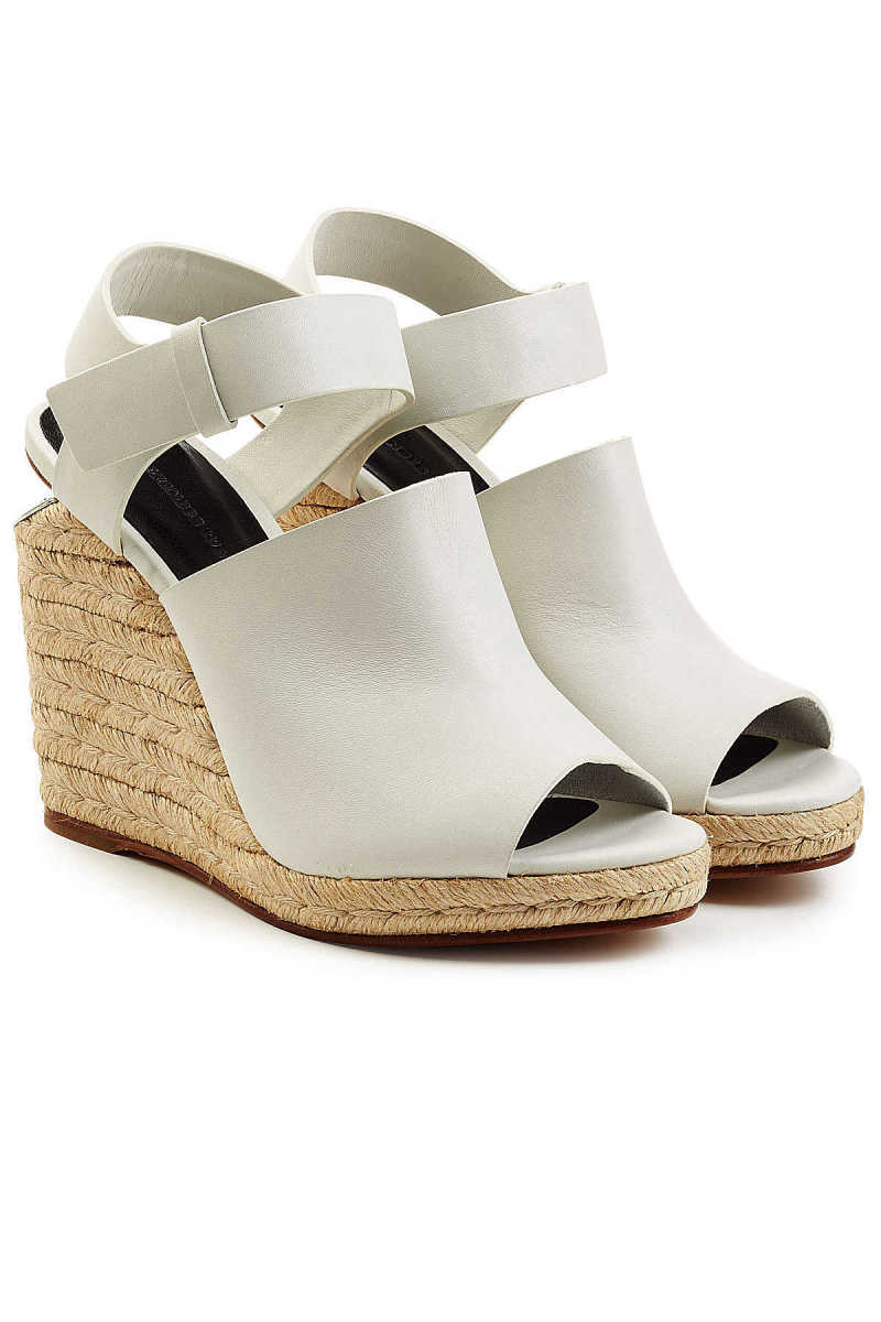 Alexander Wang Leather Sandals with Raffia Wedges GOOFASH 245699