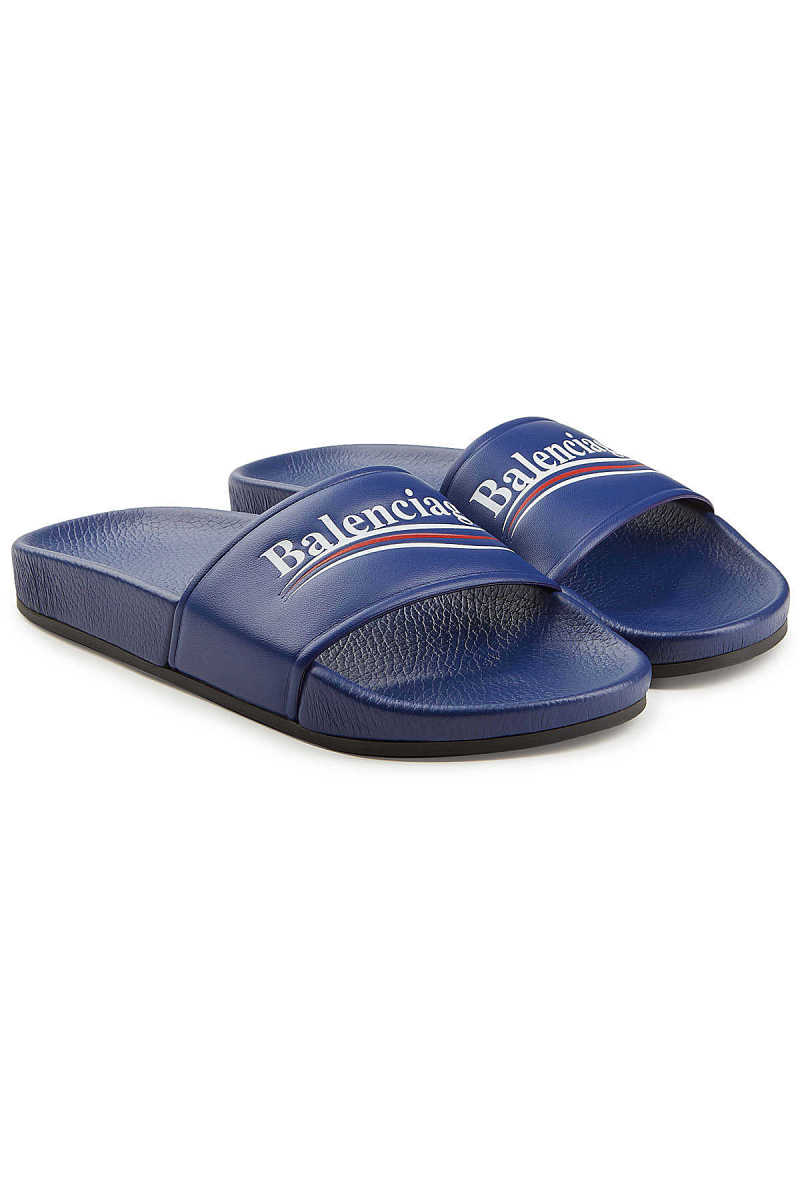 Balenciaga Political Leather Slides GOOFASH 283092