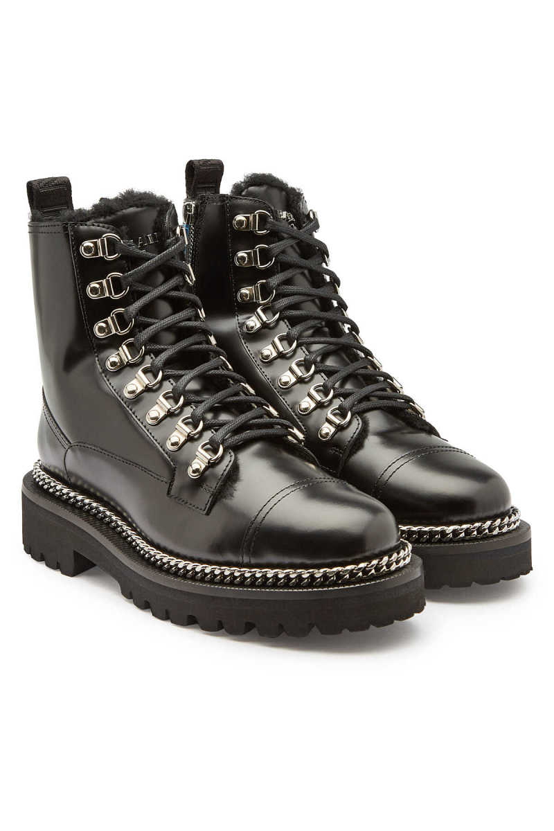 Balmain Army Leather Ankle Boots with Shearling GOOFASH 288383