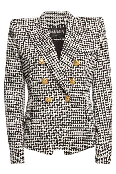 Balmain Houndstooth Cotton Blazer with Embossed Buttons GOOFASH 296430