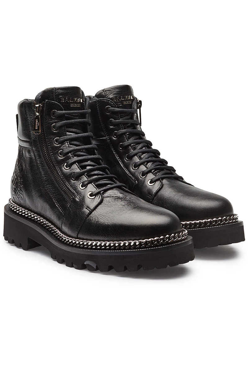 Balmain Leather Ankle Boots with Chain Embellishment GOOFASH 287544