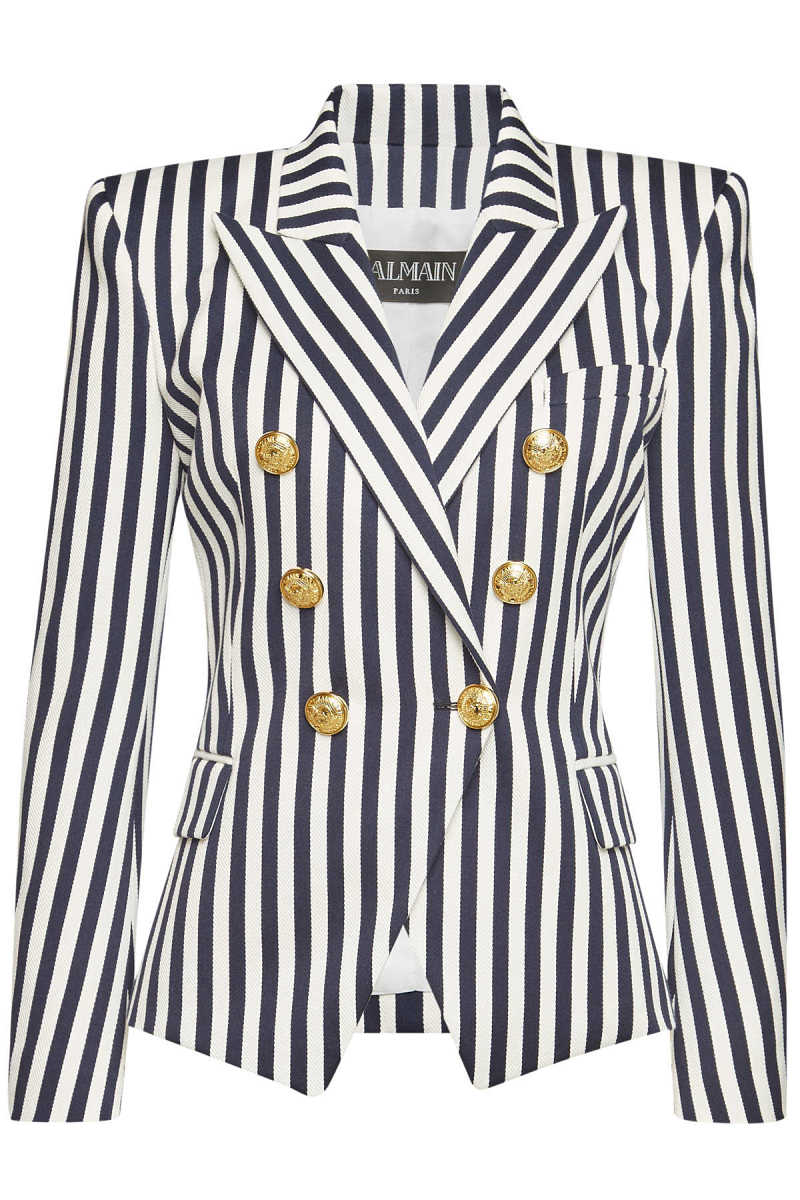 Balmain Striped Cotton Blazer with Embossed Buttons GOOFASH 297538