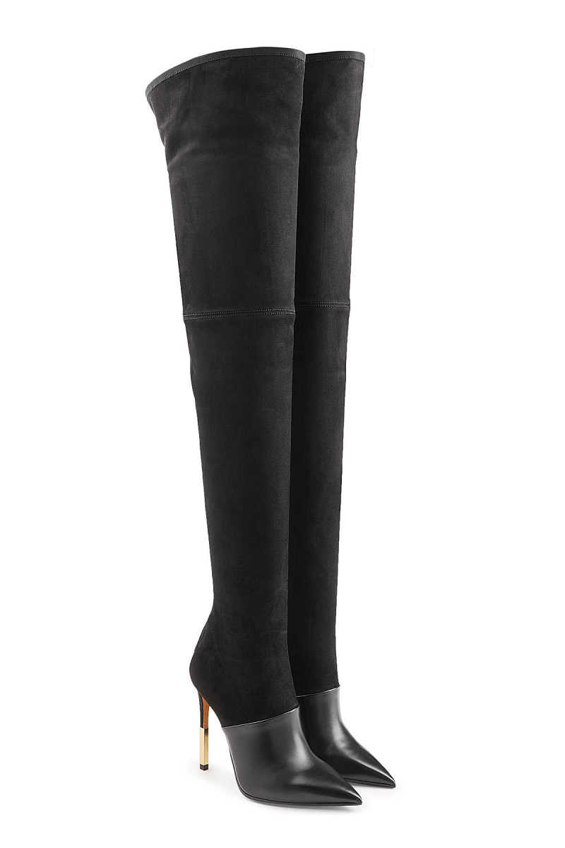 Balmain Thigh-high Stiletto Boots in Leather and Suede GOOFASH 271098