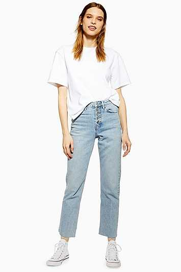 Bleached Button Fly Straight Jeans - Bleach Stone - Topshop - GOOFASH - 602019001311921