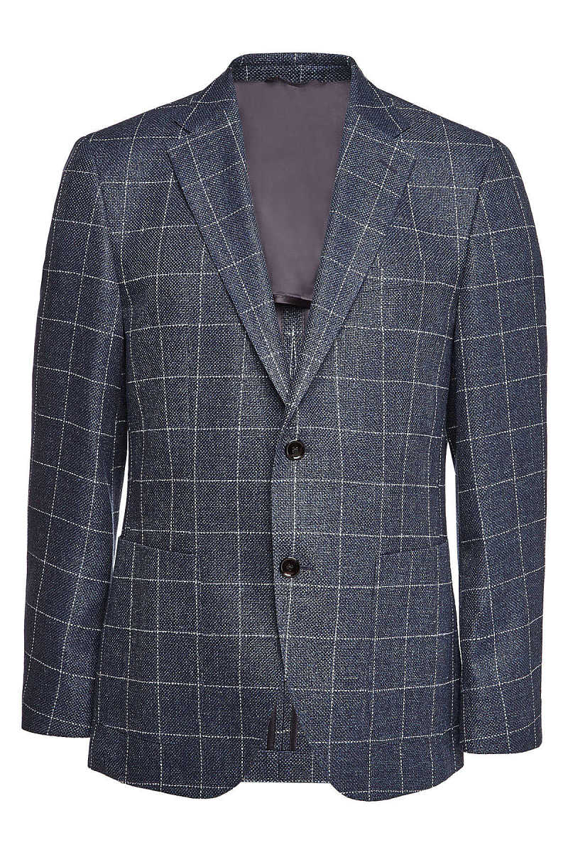 Boss Janson Checked Blazer with Wool and Linen GOOFASH 297830
