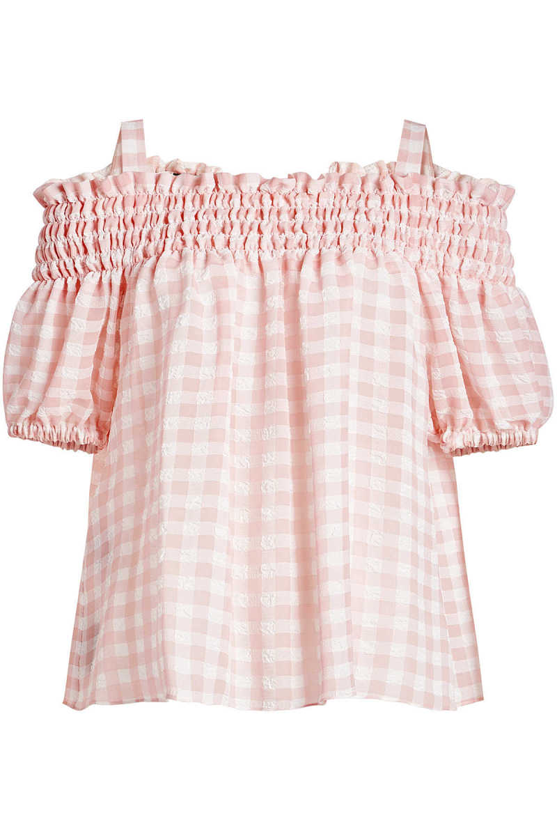 Boutique Moschino Gingham Off-Shoulder Blouse GOOFASH 279500
