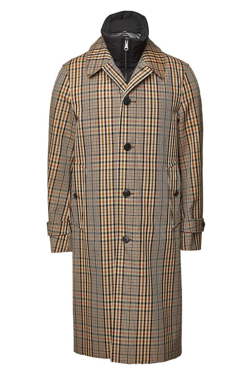 Burberry Checked Cotton Coat with Down Vest GOOFASH 295055