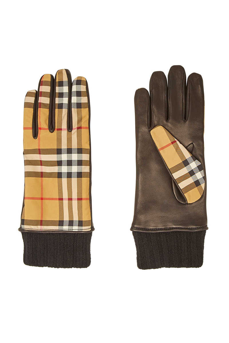 Burberry Checked Leather Gloves GOOFASH 295097