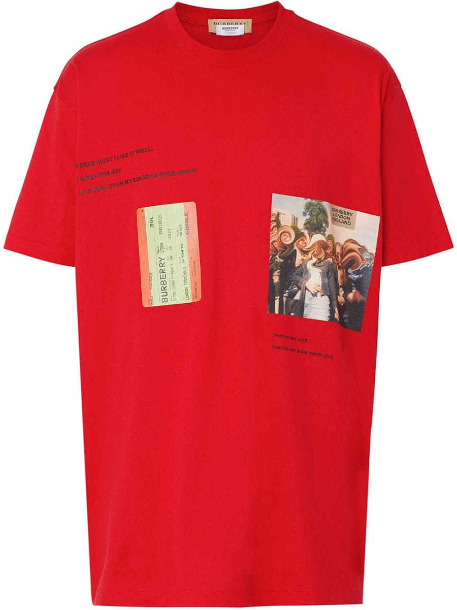 Burberry T-SHIRT ROSSO Red - Leam - GOOFASH