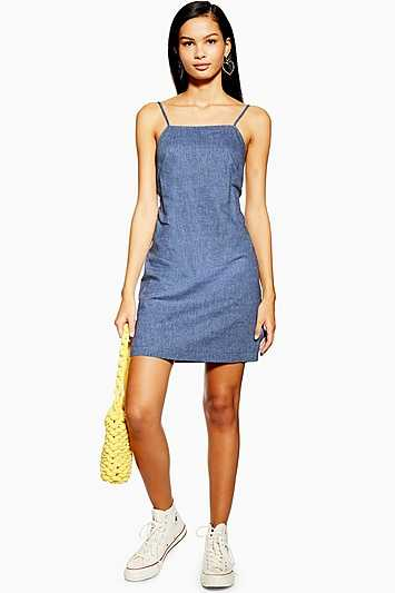 Chambray Mini Slip Dress - Chambray - Topshop - GOOFASH - 602019001323240
