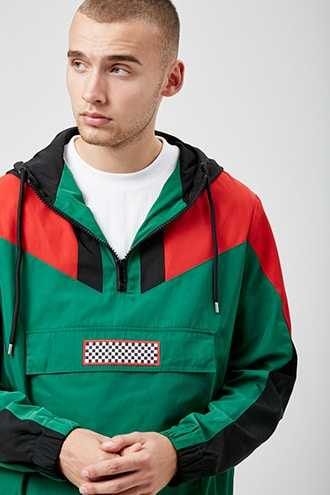 Colorblock Hooded Anorak at Forever 21  Green/red GOOFASH 2000310451015